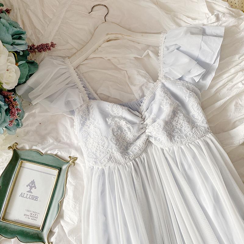 带胸垫睡衣女夏季公主风冰丝蕾丝网纱私房甜美小飞袖韩国吊带睡裙