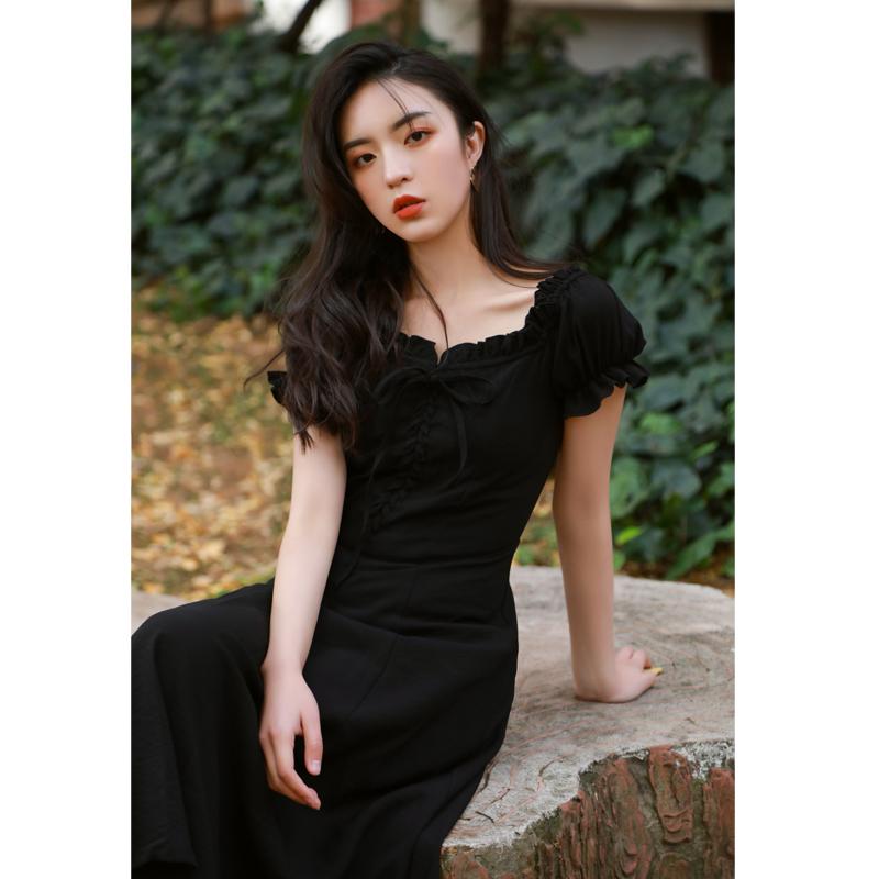 春夏季法式复古黑色连衣裙短袖桔梗长裙显瘦中长打底裙子气质少女