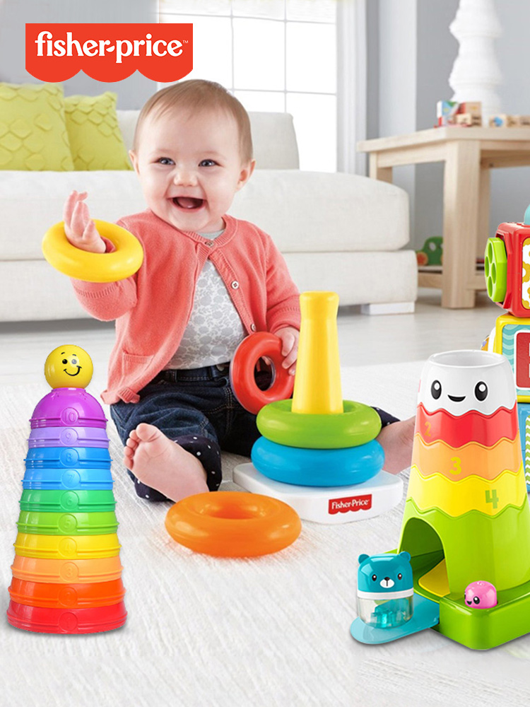 Fisher stacking Rainbow ferrule music building blocks stacking tower Children's stacking circle Layer by layer Baby cup set toy