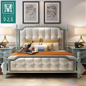 享之美 美式实木床1.8米储物欧式床双人床现代美式床主卧家具婚床