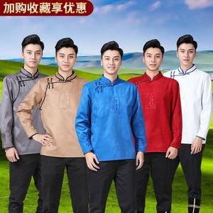 短款蒙古袍男士刺绣民族风白色蒙古服饰演出服秋季蒙古元素男装