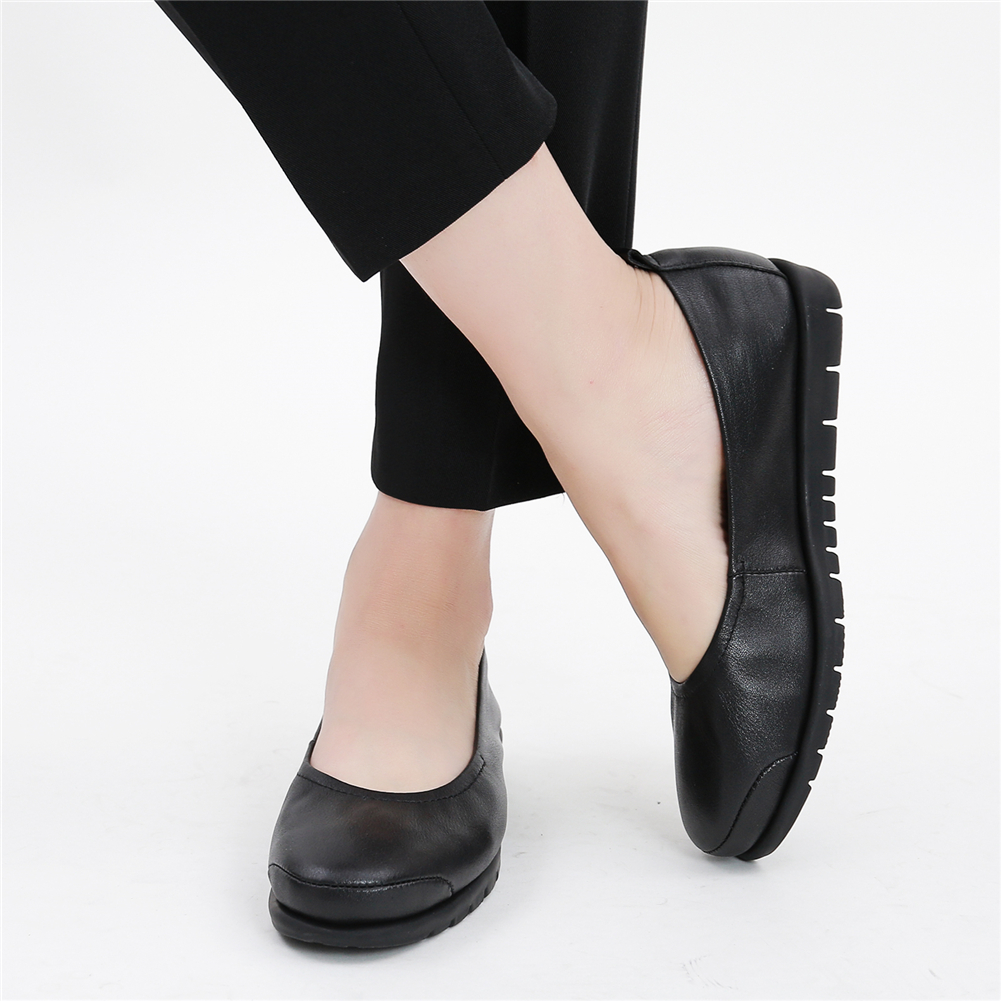 Work shoes female black stewardess shoes work clothes shoes comfortable pregnant womens shoes egg rolls mothers shoes leather soft sole flat sole shoes