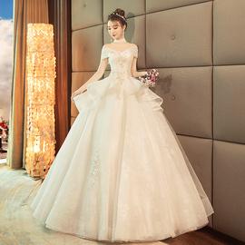 宫廷齐地婚纱礼服2020新款赫本风一字肩法式新娘结婚显瘦简单复古图片