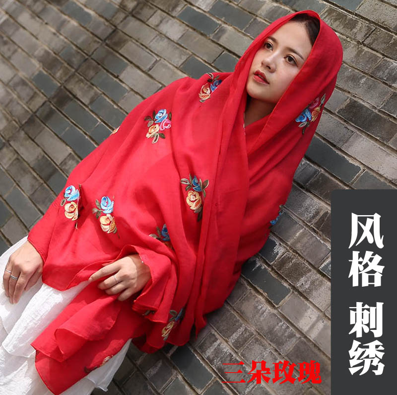 Cotton hemp embroidery scarf wholesale sunscreen beach towel womens Silk Scarf long national style Scarf 5 pieces package mail