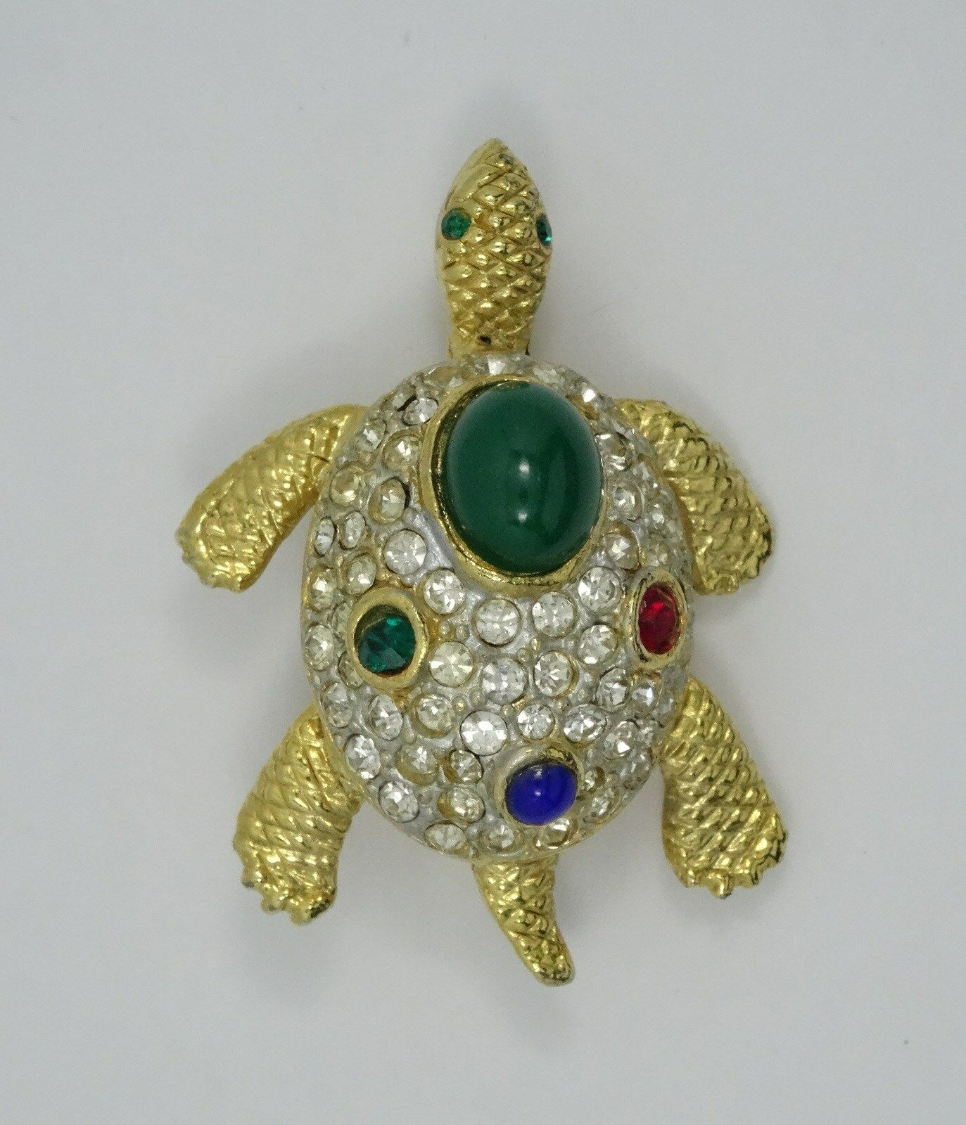 Buy retro Sphinx a2165 red blue green artificial gem shop Crystal Turtle Brooch female temperament personality
