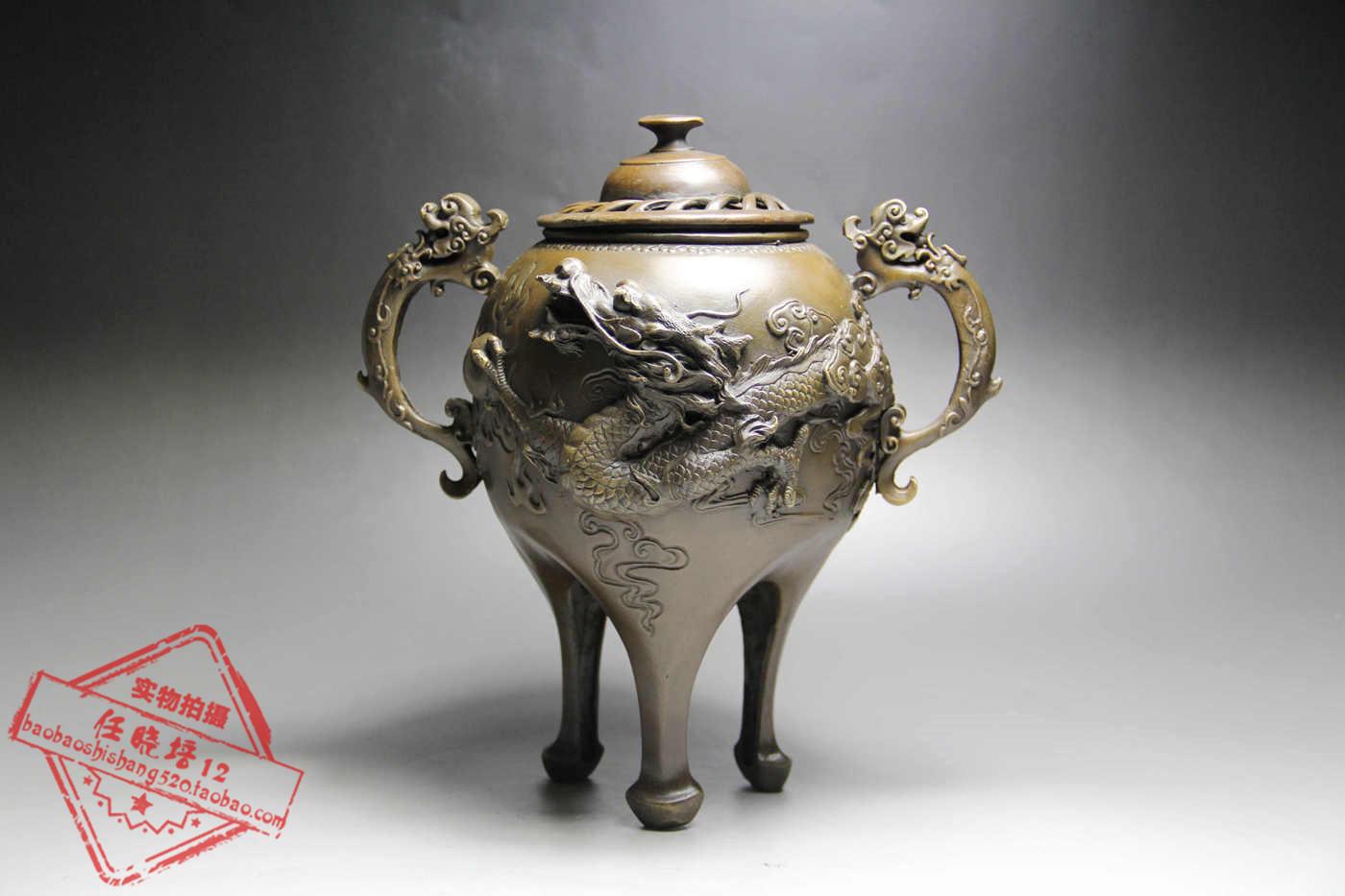 日本代购 雕像 雕刻香炉 铜制精彫 雕塑摆件艺术饰品客厅工艺品 Изображение 1