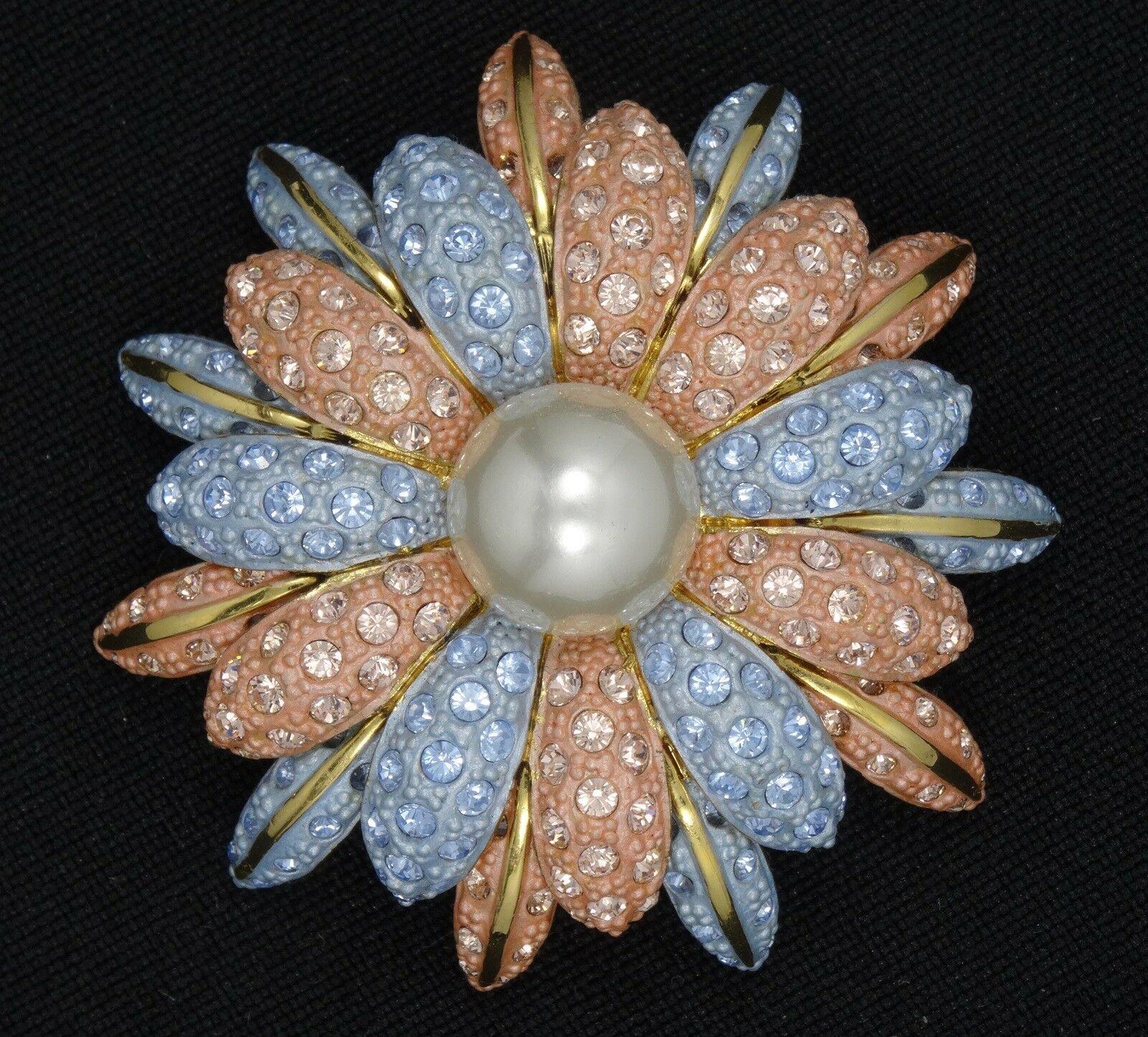 代购复古Joan Rivers宝石搪瓷花朵销胸针2女气质个性百搭配饰别针