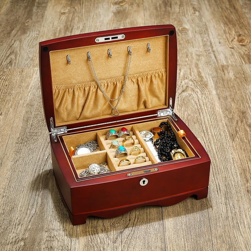 High grade wooden multi-layer jewelry box with lock put Necklace Bracelet Earring Ring Wedding Jewelry Collection