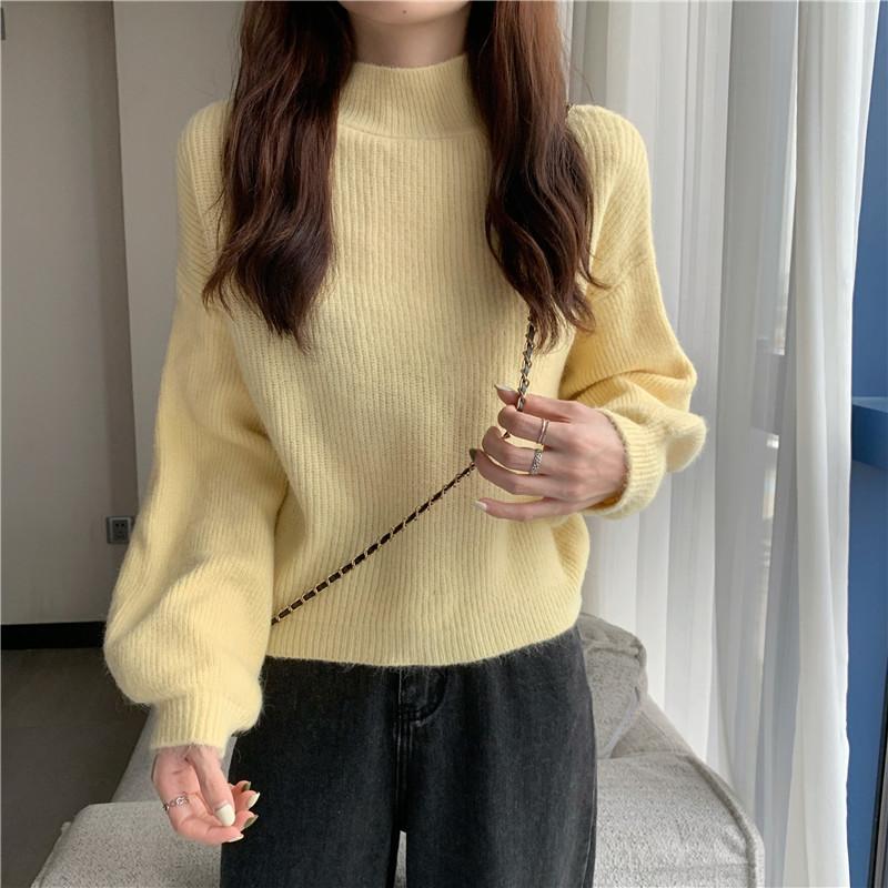 实拍实价  宽松慵懒风毛衣新款韩版外穿百搭灯笼袖针织上衣