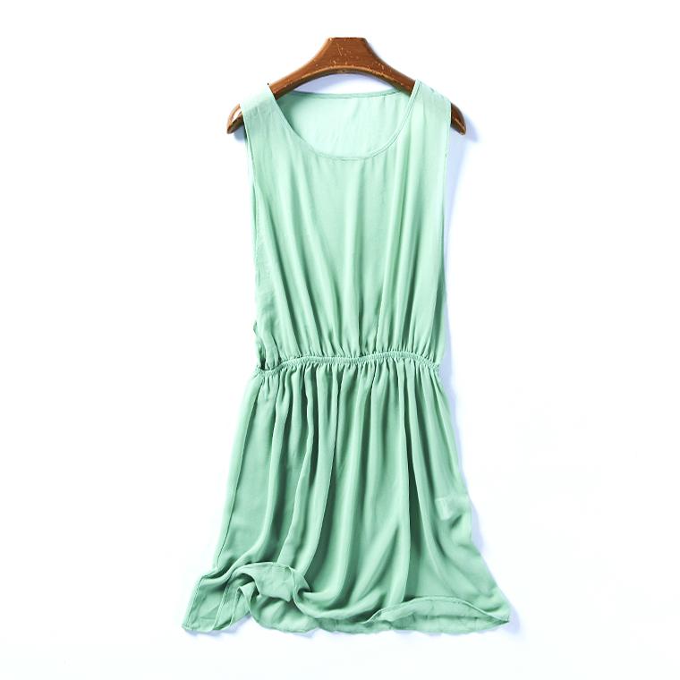 35295 夏季新款女韩版纯色收腰显瘦外穿百搭圆领雪纺连衣裙7月5