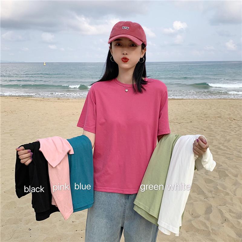 现货 实价实拍 视频夏季新款ins超火纯色短袖宽松圆领T恤上衣