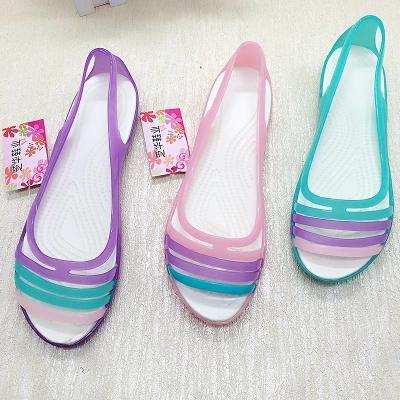 歐洲站魚嘴涼鞋夏季彩色糖果色透明羅馬鞋水晶果凍平底沙灘鞋女低