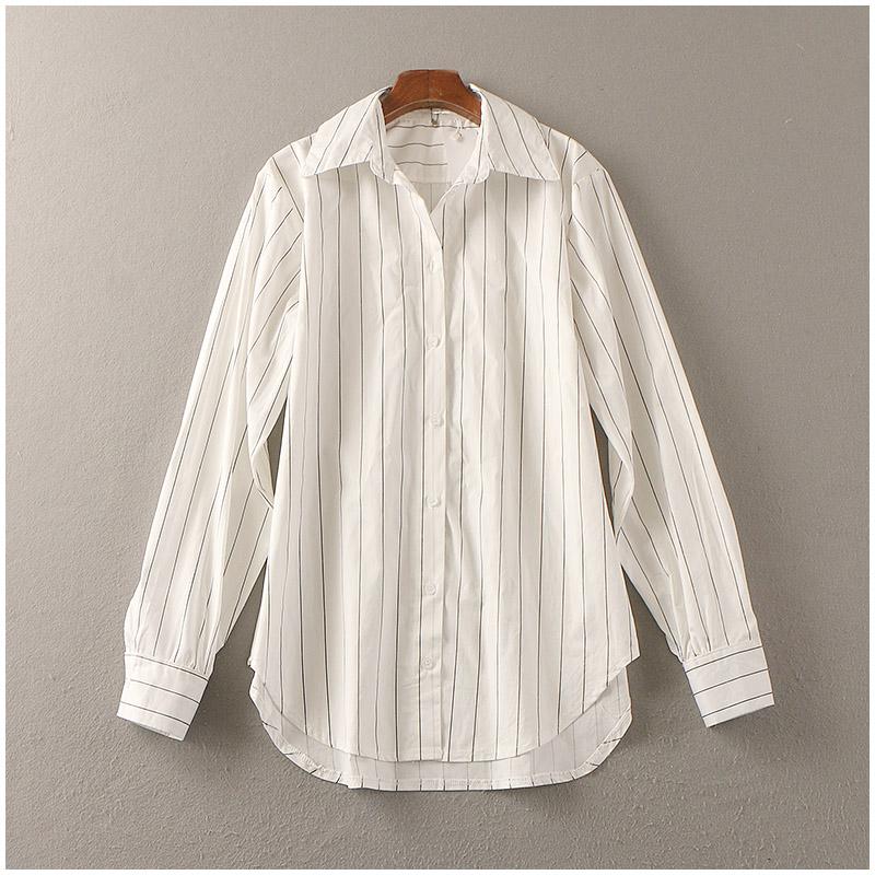 淘淘衣裳 夏季chic風黑白條紋大碼襯衣女時尚BF風長袖襯衫女29048