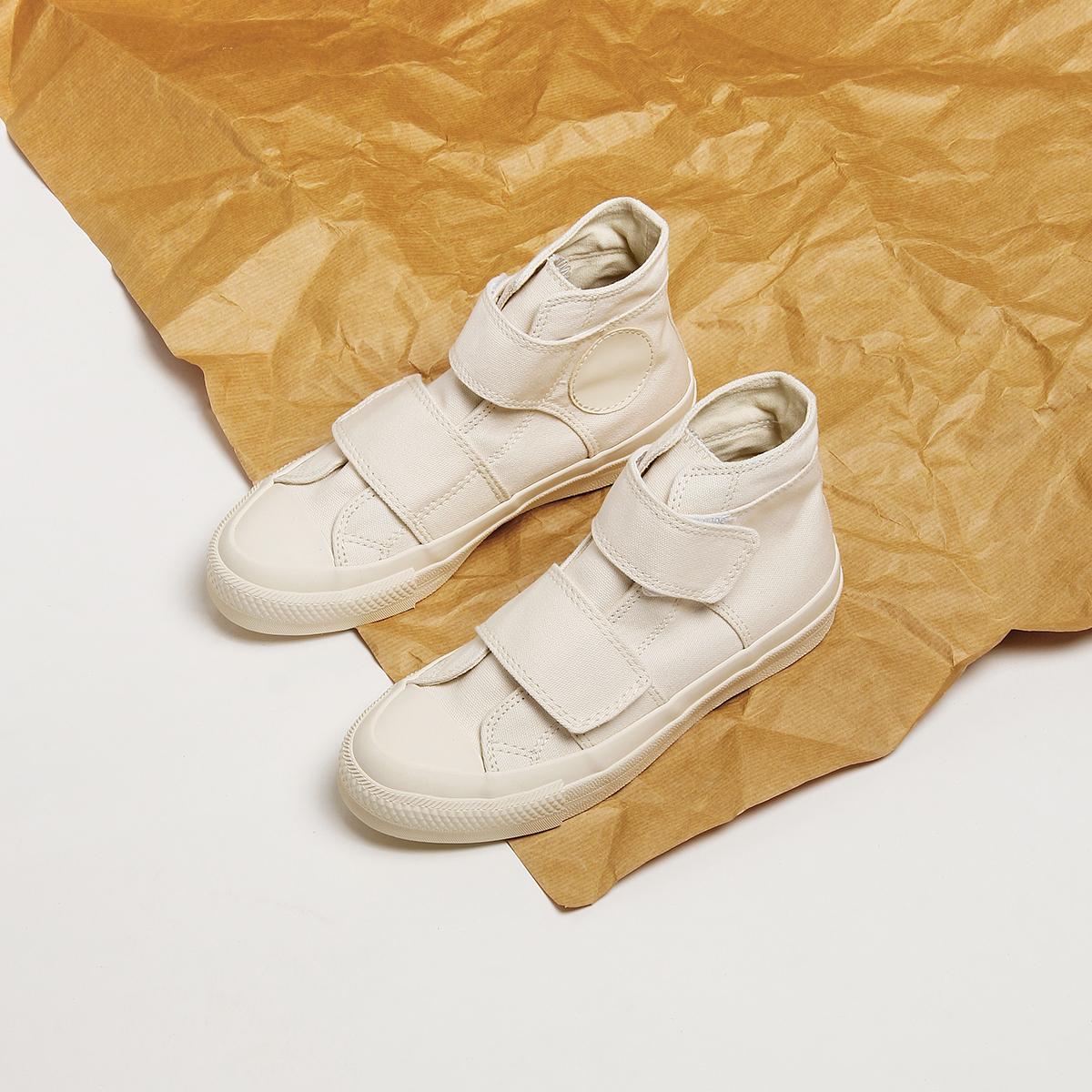 飞行计划ins2020新款魔术贴高帮日系古着帆布鞋山本风小白鞋子女图片