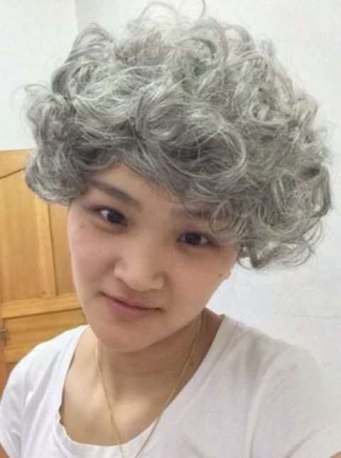 Cos old woman wig short curly hair role play old granny old lady white false head cover white hair