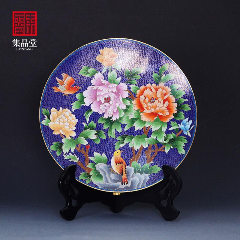 中国风特色外事出国礼品送老外老北京传统手工艺品景泰蓝盘子摆件