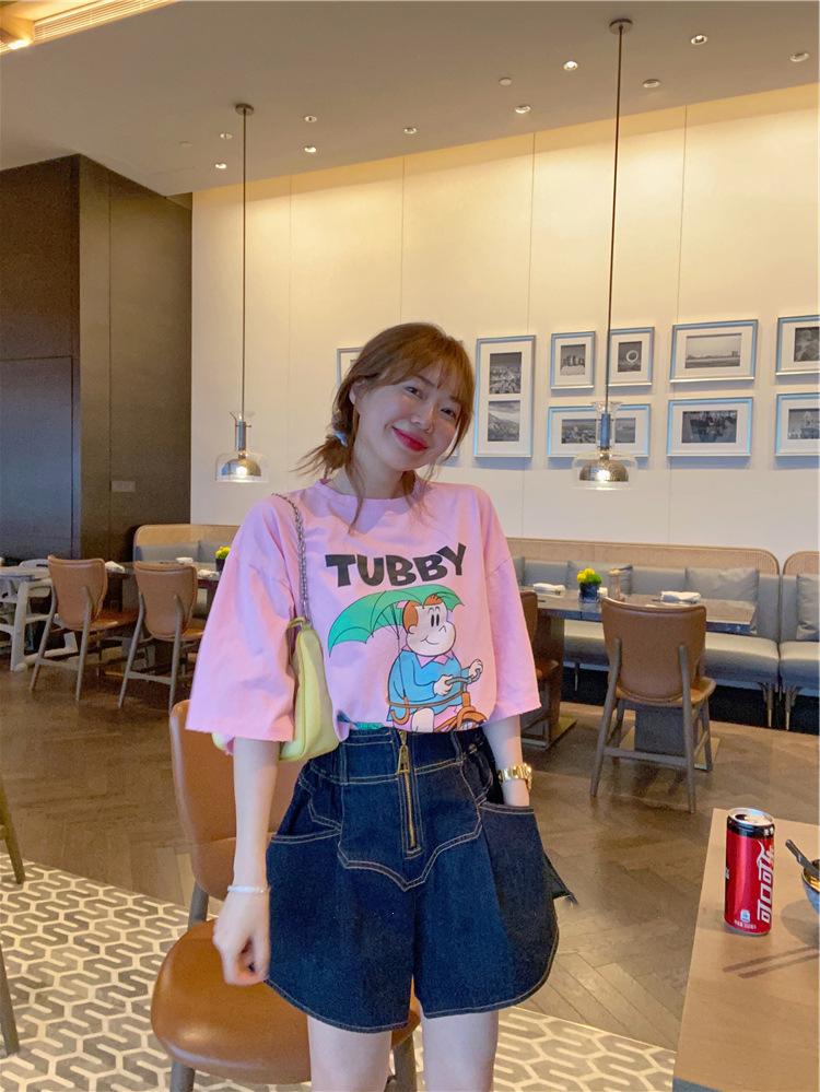 韩国 波拉家东大门夏 轻薄粉色卡通女孩印 花圆领短袖T恤
