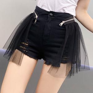 诗雨2019夏装新款假两件拉链网纱拼接破洞牛仔短裤高腰女修身百搭