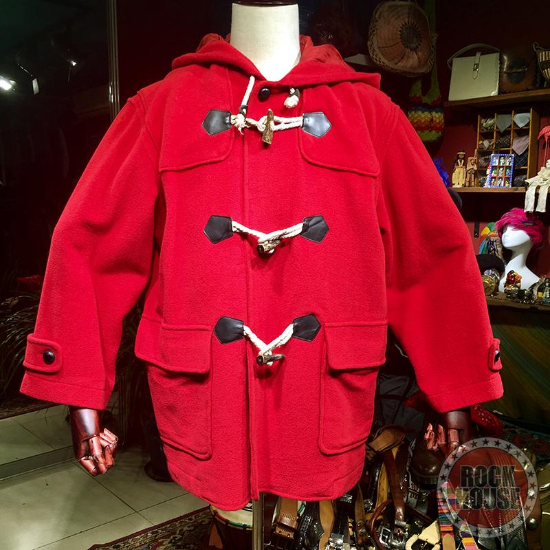 Vintage古着元年韩国产羊绒混纺厚实大红色冬季保暖大衣