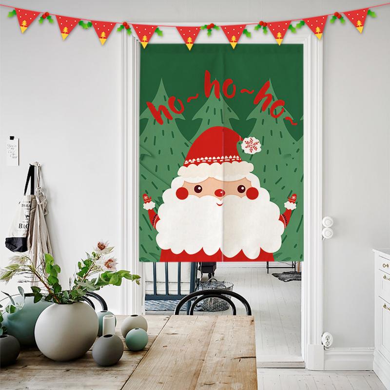 创意圣诞节布艺门帘棉麻客厅卧室挂帘半帘隔断帘风水帘厨房布帘子热销0件假一赔十