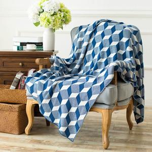 办公室针织线毯休闲毛毯绒毯立体几何毯午休装饰毯子空调毯午睡毯