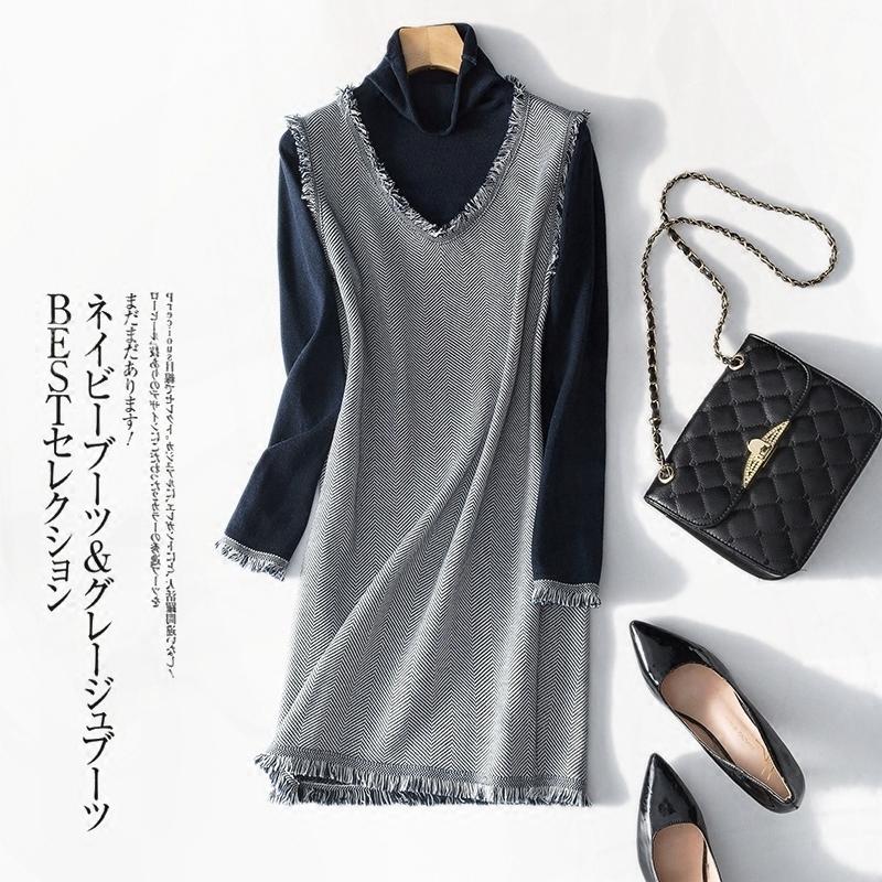 2019春季新款毛边拉须高领针织长袖连衣裙羊毛假两件灰色连身裙女,可领取30元天猫优惠券