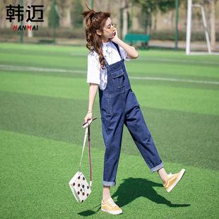 泫雅风2020年新款牛仔背带裤女直筒韩版宽松可爱复古港味减龄日系