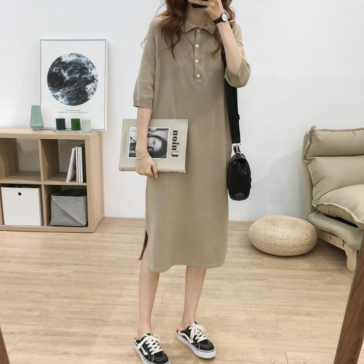 宽松大码百搭减龄Polo领短袖针织裙女韩版显瘦中长款打底连衣裙夏图片
