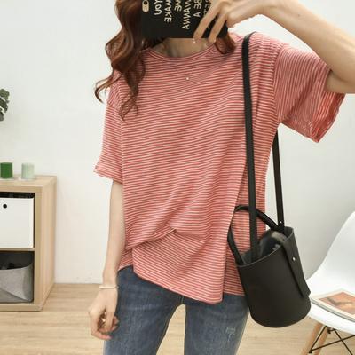 夏季宽松大码新款纯棉网红条纹短袖T恤女显瘦圆领打底衫ins上衣潮
