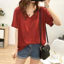 韩版 夏季 冰凉爽滑丝光棉V领短袖 宽松显瘦半袖 T恤女大码 上衣打底衫