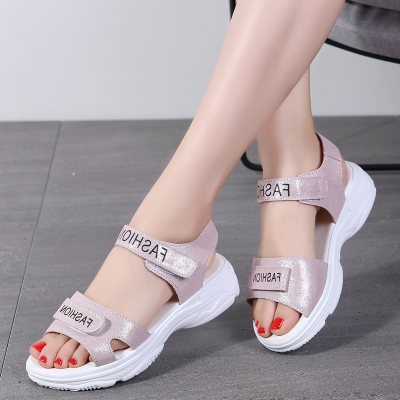 Other / other summer one belt sports sandals female students flat bottomed and thick soled Roman beach shoes