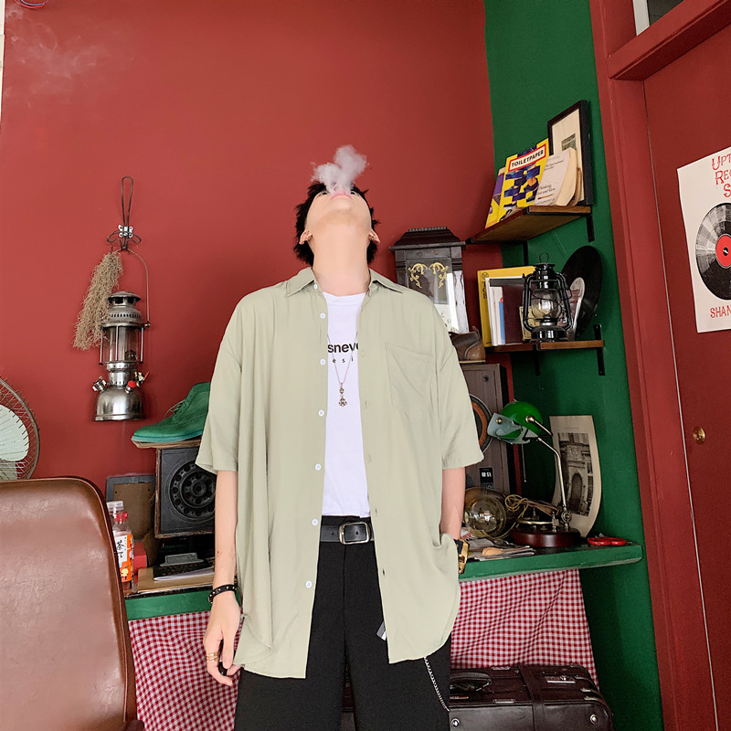 短袖纯色衬衫手感一流港风复古vetiver韩帅气男上衣A452-Z865-P58