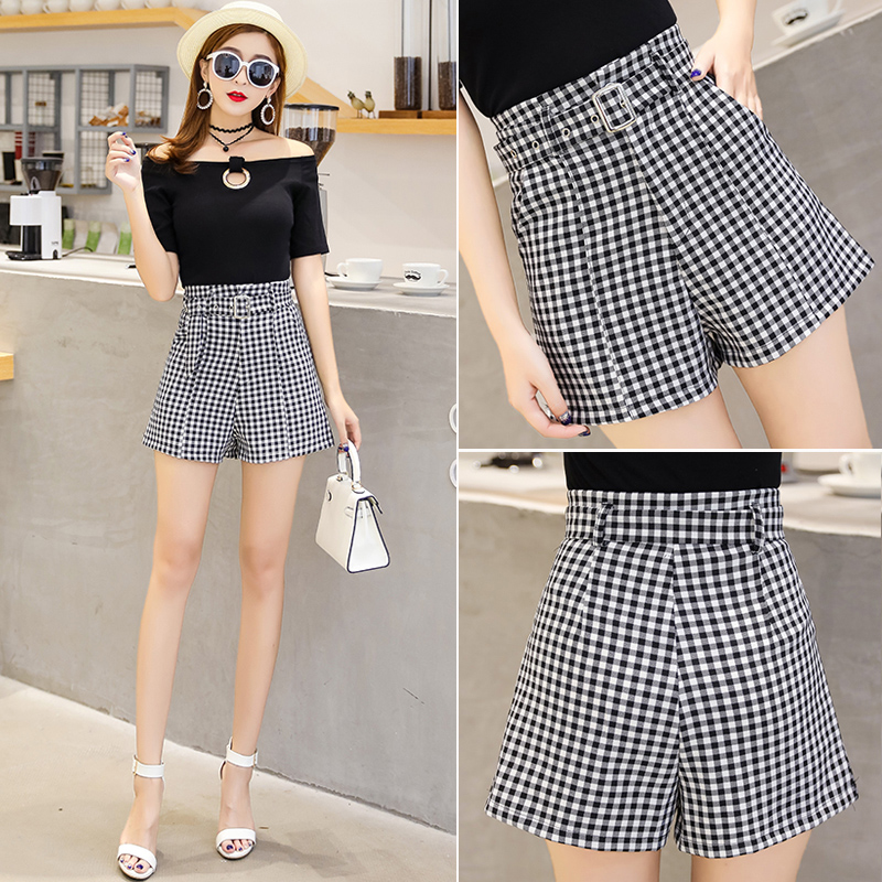 Plaid Shorts womens high waist 2020 new Korean summer slim wide leg pants loose A-line casual pants hot pants
