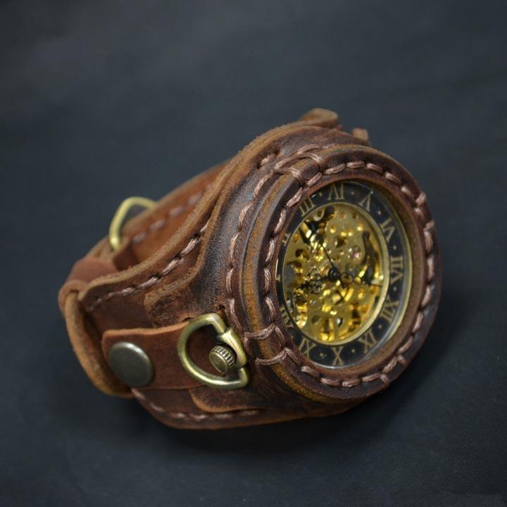 Thread㊣俄罗斯代购 手作迷人复古黄铜针扣棕色皮革机械手表腕表