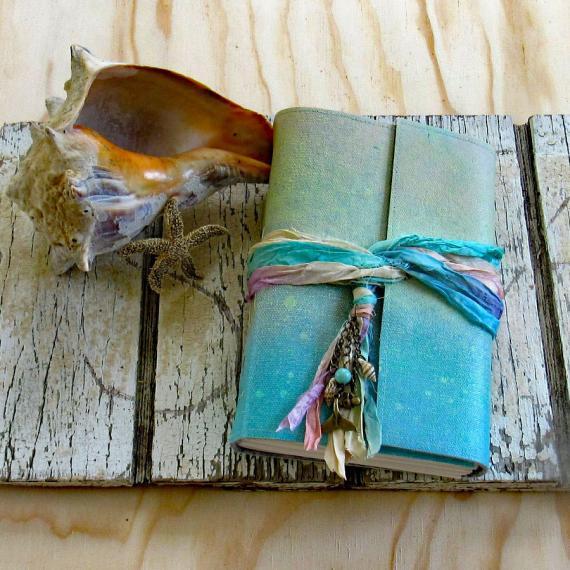 美国代购 Mermaid◇手作美人鱼日记贝壳海滩纪念礼物笔记本记事本
