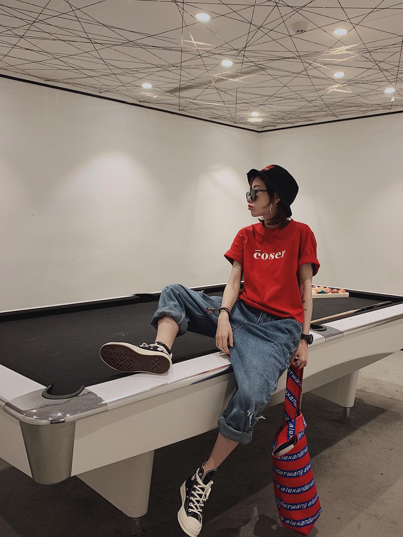 甜心家 简约百搭字母短袖T恤 宽松韩版上衣女装BF风学生红色夏装