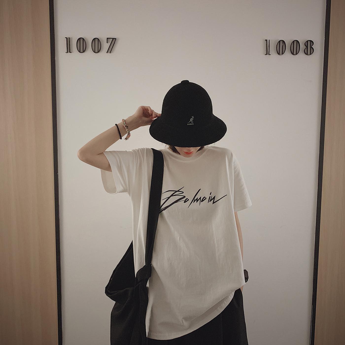 甜心家 字母印花短袖T恤 宽松时尚百搭上衣女装BF风2019新款夏装