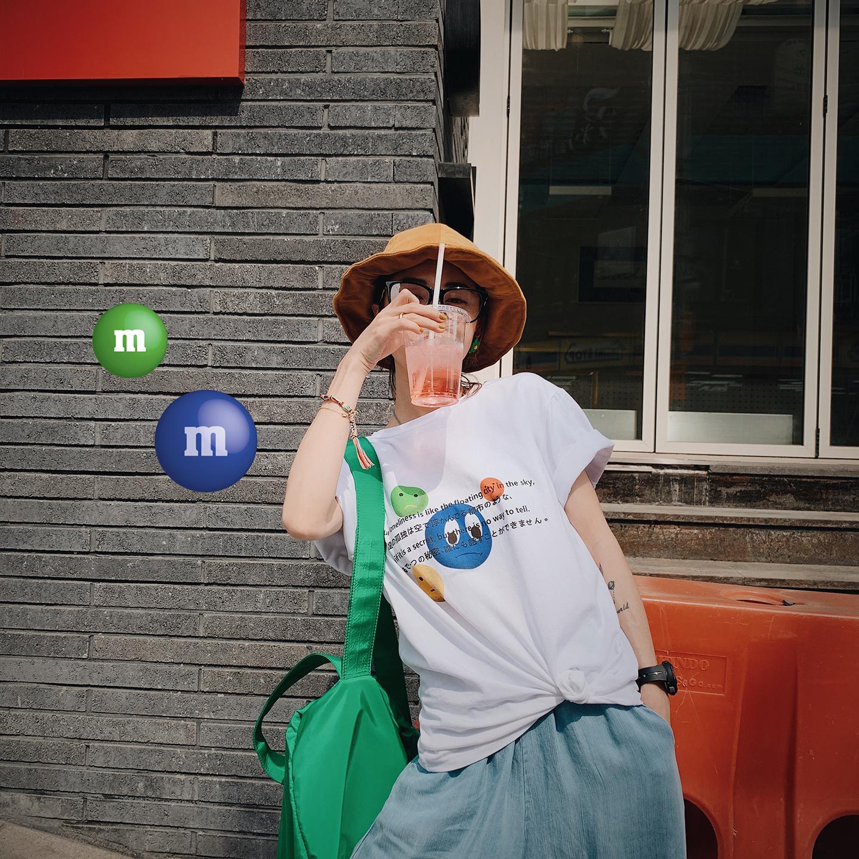 甜心家 卡通气球字母印花短袖T恤 宽松百搭亲肤棉上衣韩版女装夏