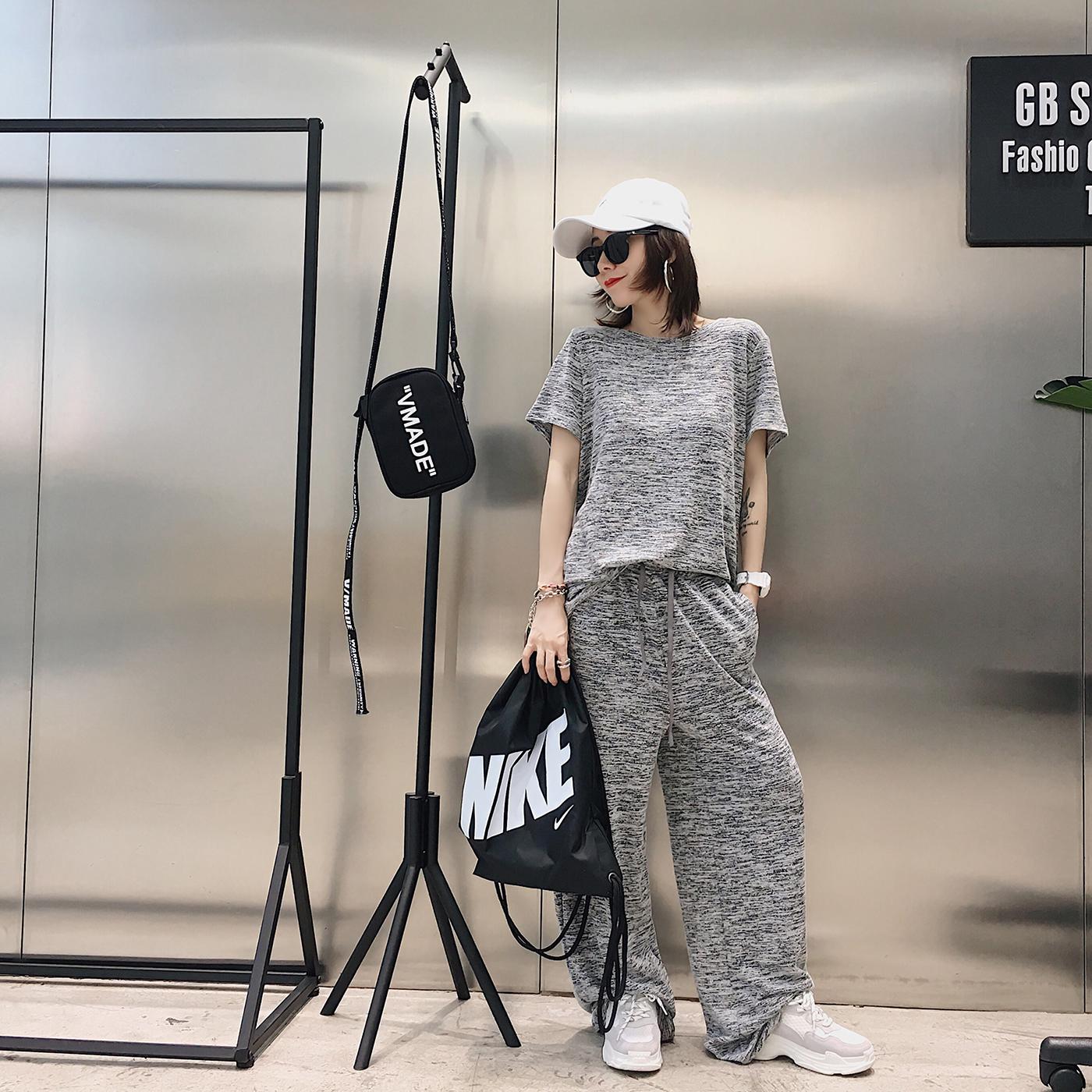 甜心家修身弹力针织t恤短裤运动三件套装女装街头风2018夏装新款
