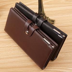 钱包男长款带扣子男士搭扣钱包商务可放手机韩版潮钱夹男包多卡位