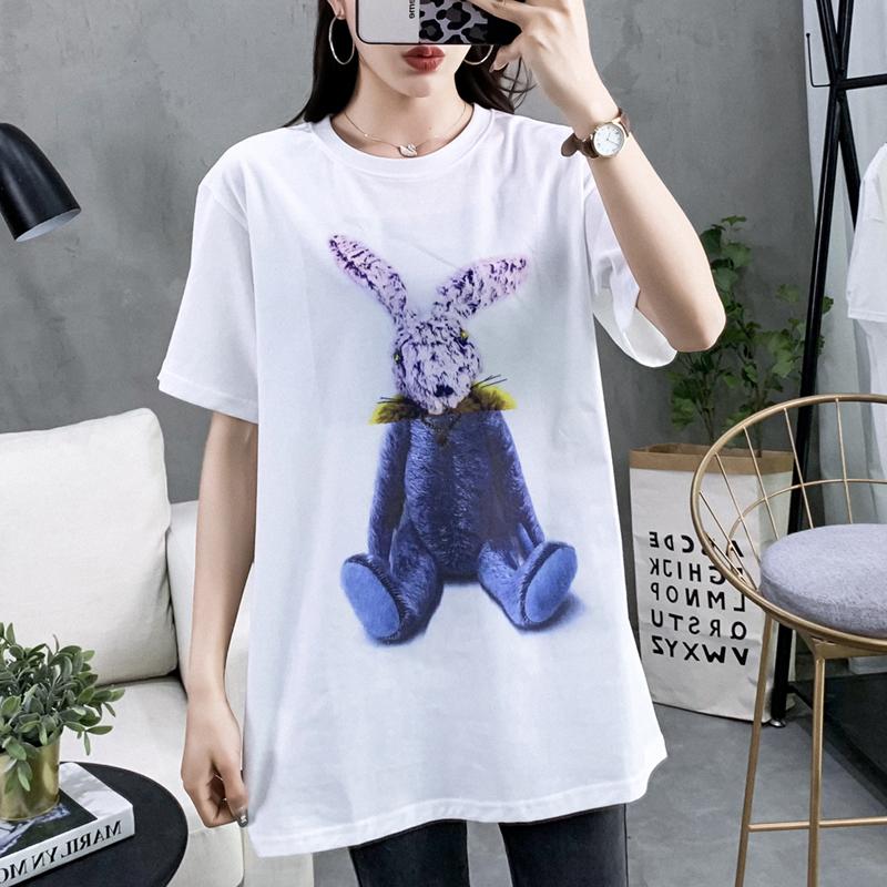 韩版卡通兔半袖下身失踪宽松打底衫(用1元券)