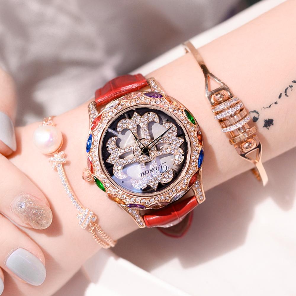 蒂米妮镶钻大气防水石英表时来运转大表盘时尚韩版潮流旋转手表女