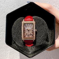 闪耀满天星手表女水钻韩版正品时尚长方形表盘网红皮带女学生腕表