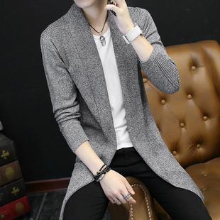 长款风衣针织衫男士春秋季韩版毛衣