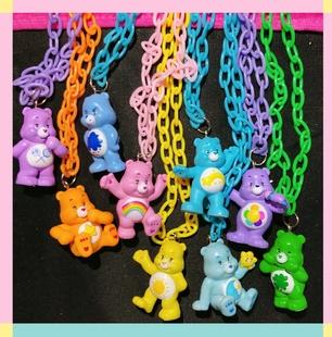 洋娃娃販賣機 土酷蹦迪原宿小熊項鍊 care Bears項鍊 彩虹熊項鍊