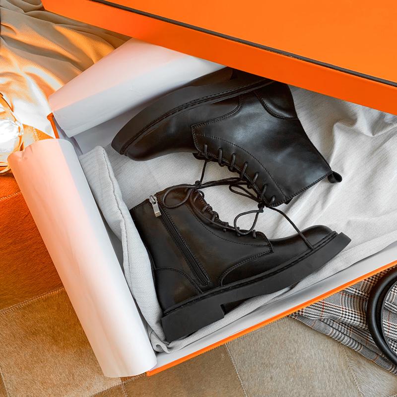【福利款 】2019新款潮鞋带帅气马丁靴女短靴英伦风黑色机车靴子
