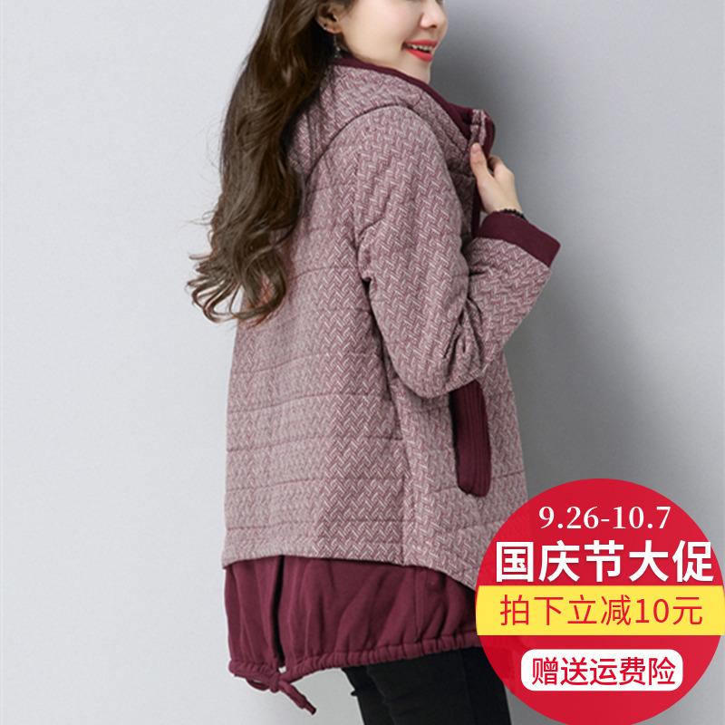 大码宽松加厚棉衣女中长款韩版休闲棉服中年冬装外套胖MM显瘦上衣