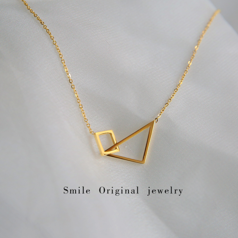 Korean version of titanium steel ins minimalist cool wind geometric Necklace Gold versatile simple collarbone chain jewelry autumn winter woman