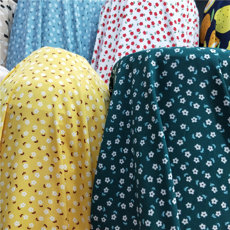 Small plum blossom impervious printing impervious four sides elastic fabric shirt wide leg skirt pants dress vertical fabric half meter price