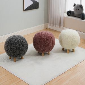 创意实木小凳子球形凳可拆洗凳设计师家具矮凳圆凳家用布艺小凳子